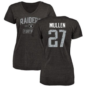 Trayvon Mullen Oakland Raiders Women's Black Distressed Name & Number Tri-Blend V-Neck T-Shirt