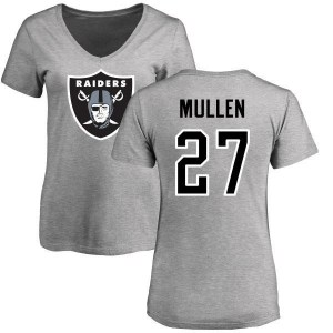 Trayvon Mullen Oakland Raiders Women's Name & Number Logo Slim Fit T-Shirt - Ash