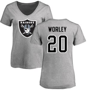 Daryl Worley Oakland Raiders Women's Name & Number Logo Slim Fit T-Shirt - Ash