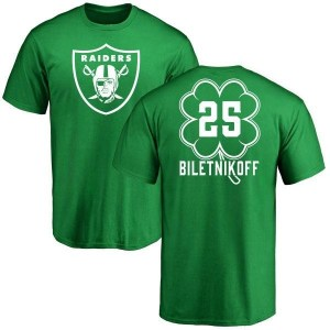 Fred Biletnikoff Oakland Raiders Youth Green St. Patrick's Day Name & Number T-Shirt