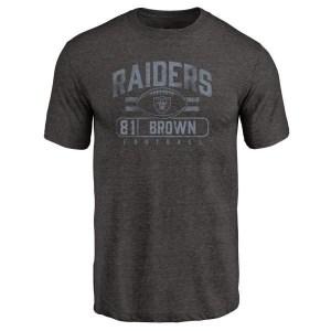 Pharaoh Brown Oakland Raiders Men's Black Pro Line by Branded Flanker Tri-Blend T-Shirt -