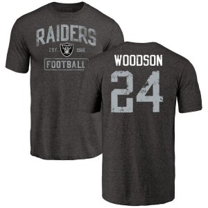 Charles Woodson Oakland Raiders Youth Black Distressed Name & Number Tri-Blend T-Shirt