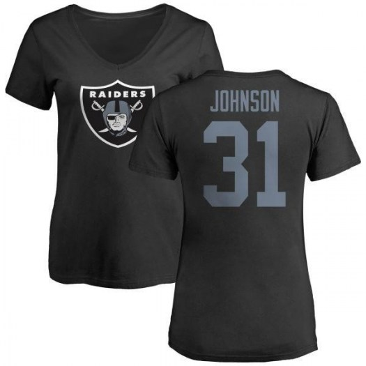 Isaiah Johnson Las Vegas Raiders Women's Black Any Name & Number Logo Slim Fit T-Shirt -