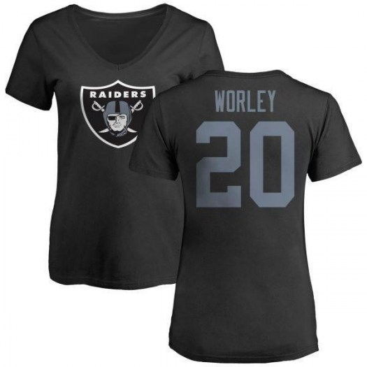 Daryl Worley Oakland Raiders Women's Black Any Name & Number Logo Slim Fit T-Shirt -