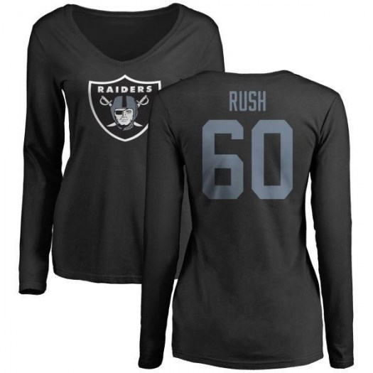 Anthony Rush Oakland Raiders Women's Black Name & Number Logo Slim Fit Long Sleeve T-Shirt -