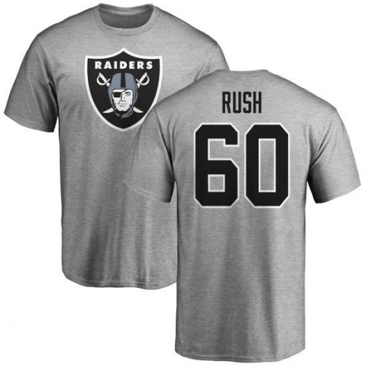 Anthony Rush Oakland Raiders Men's Name & Number Logo T-Shirt - Ash