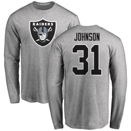 Isaiah Johnson Las Vegas Raiders Youth Name & Number Logo Long Sleeve T-Shirt - Ash