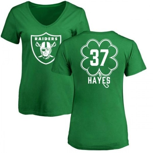 Lester Hayes Oakland Raiders Women's Green St. Patrick's Day Name & Number V-Neck T-Shirt