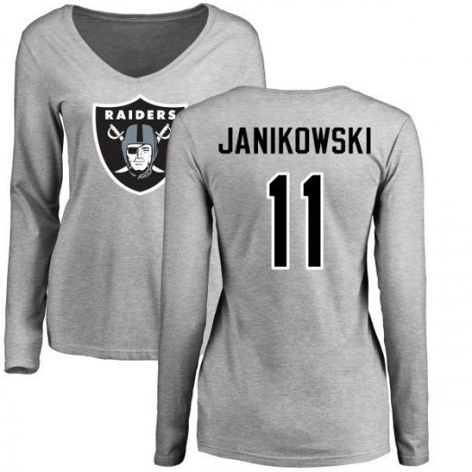Sebastian Janikowski Oakland Raiders Women's Pro Line Name & Number Logo Slim Fit Long Sleeve T-Shirt - Ash