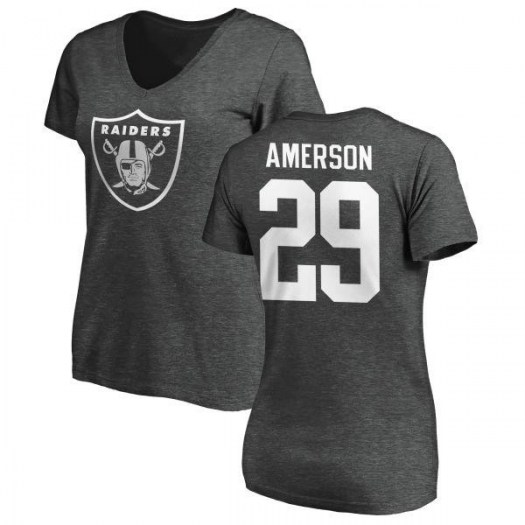David Amerson Oakland Raiders Women's Pro Line by Branded One Color T-Shirt - Ash