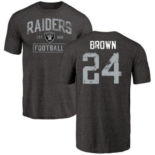 Willie Brown Oakland Raiders Men's Black Distressed Name & Number Tri-Blend T-Shirt
